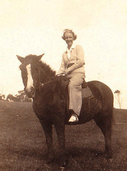 Grandma riding, Goodnight Island 1937