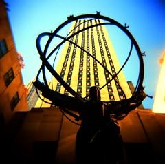 Atlas statue outside Rockefeller center (Anatoleya) Tags: new york city nyc usa 120 6x6 film america mediumformat square holga lomo xpro lomography crossprocessed crossprocess slide center atlas medium format rockefeller holgagraphy 120cfn cfn anatoleya crrossprocessed