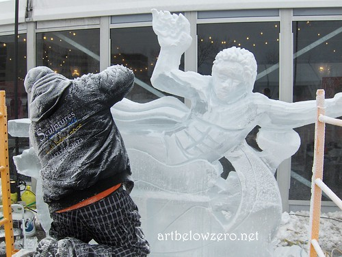 Carving Prometheus ice sculpture