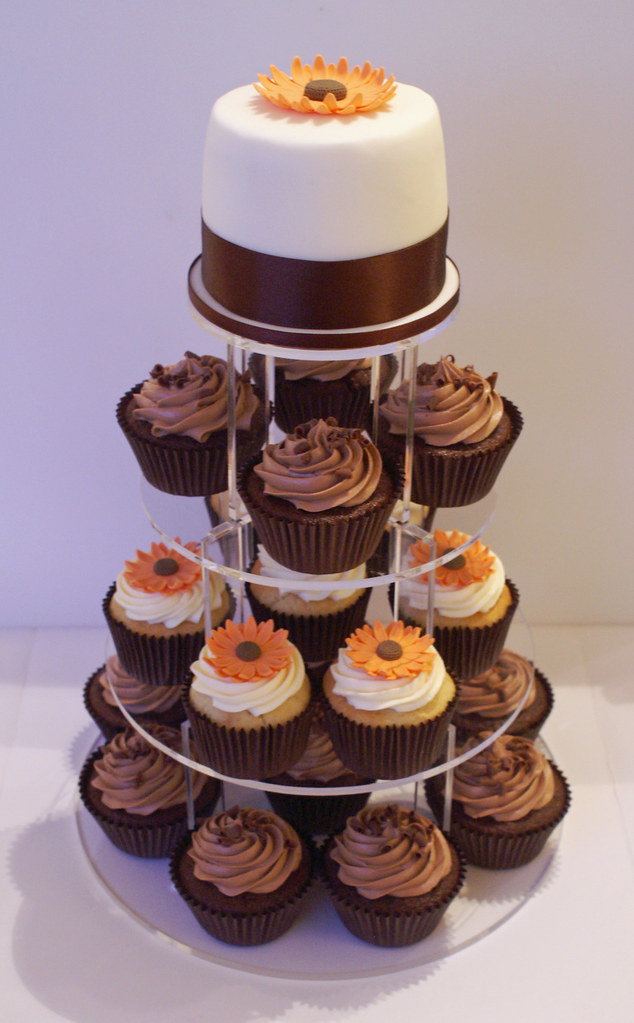 Sunflower and Chocolate Cupcake Tower