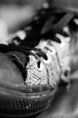 Converse (Simon in Southend) Tags: bw 35mm shoe mono bokeh sony converse apsc a580 multiframenoisereduction sonyaf35mmf18