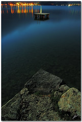 cobalt lake (chris frick) Tags: longexposure moon water night reflections lights switzerland nightshot tripod transparency moonlight stillness cobalt neuhaus lakethun a550 remoteshuttercontrol chrisfrick sony1118mm sonyalpha550