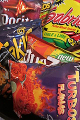 Spicy Snacks: (Guzzle & Nosh) Tags: hot chips snack junkfood snacks cheetos snacking doritos takis flaminhot flamas snackology sabritone quezas