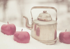 Winter Magic (JoyHey) Tags: christmas snow art vintage soft bokeh pastel fineart pot kettle photograph apples dreamy allrightsreserved kristapalmu joyhey wwwjoyheycom