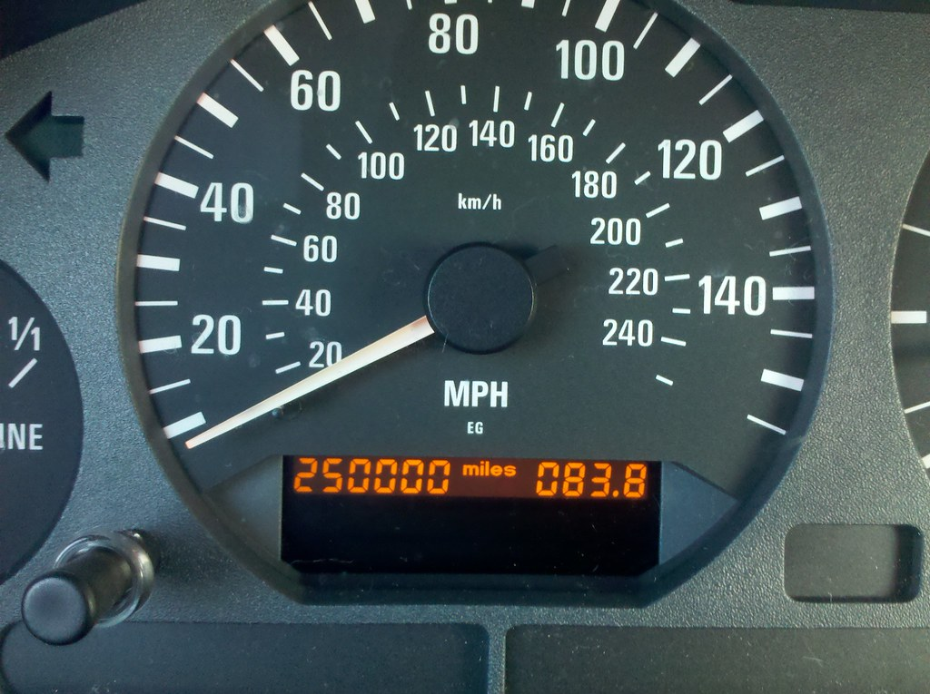 Odometer with 250,000 miles on it