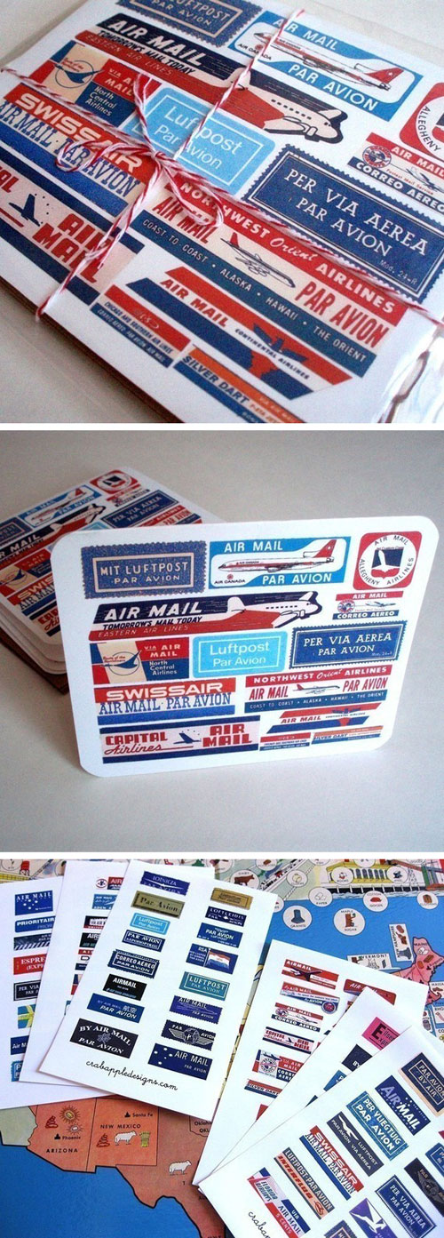 Airmail-Label-Note-Card-Set-1
