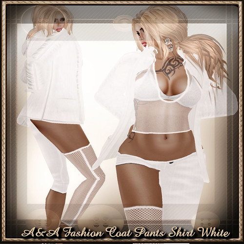 A&A Fashion Coat Pants Shirt White