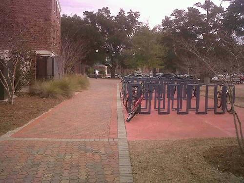 Bike racks and sidewalks around Rosewald