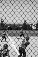Kate Burton3 (byuiphotography) Tags: photography narrative blackandwhite field softball team runner batter ball byui