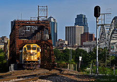"Northbound Transfer in Kansas City, MO (""Righteous"" Grant G.) Tags: bnsf railway railroad locomotive train trains emd power kansas city missouri atsf santa fe hannibal bridge transfer freight north northbound"