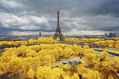 Yellow Storm (PLF Photographie) Tags: infrarouge infrared paris eiffel tower tour yellow jaune panorama