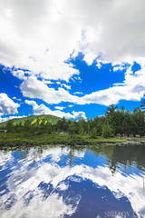Bridgton, Maine (sheldonannphotography) Tags: shawnee peak moose pond bridgton maine new england clouds blue sky reflection mountain green trees nature landscape water lake