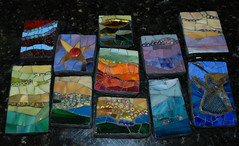 "My ""Make Five"" gifts. ((or ten - or eleven)) (Carol Shelkin, Artist) Tags: art philadelphia mosaic stainedglass millefiori commissions wwwcarolshelkinmosaicscom carolshelkin minimosaics carolshelkinmosaics"