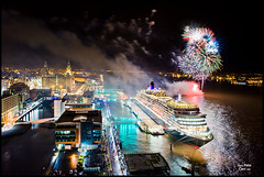 Queen Victoria in Liverpool with fireworks (petecarr) Tags: skyline liverpool fireworks dusk cunard queenvictoria cruiseliner 3graces cruiselinerterminal
