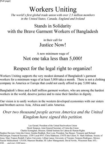 Bangladeshi Minimum Wage Ad-English