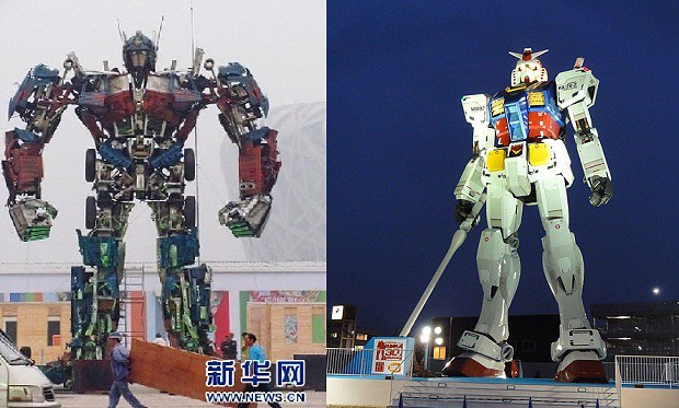 estatua Optimus Prime versus Gundam