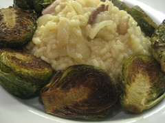 Bacon risotto and balsamic roasted brussels sprouts