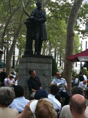 David Ebershoff and Gary Shteyngart at Bryant Park