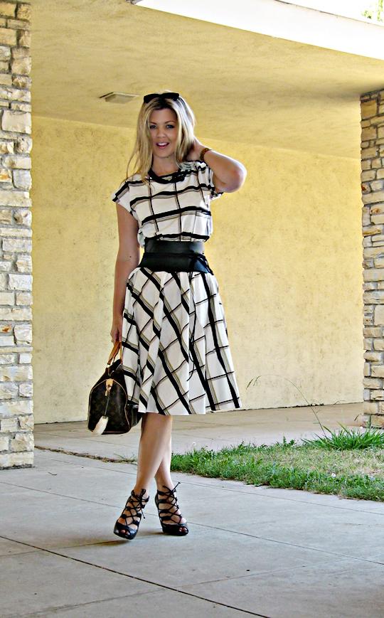 vintage plaid day dress with wide leather obit wrap belt