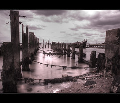 (Nexus - Richard Wilkinson) Tags: wood sea sky cloud seaweed beach water rock canon coast boat long exposure ship ruin rope 5d wreck hdr cliffe