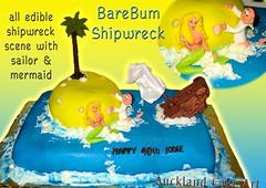 BAREBUM SHIPWRECK SCENE BIRTHDAY CAKE (Anita (Auckland Cake Art)) Tags: birthday tree cake ship palm shipwreck pirate sailor mermaid