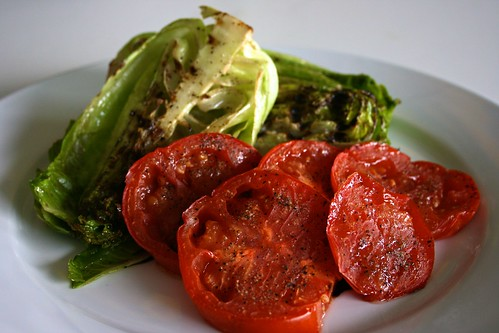 Grilled Romaine and Oven Roasted Tomatoes