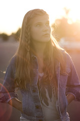 (victoriacarlson) Tags: california light sunset woman sun girl face up birds digital hair golden hands nikon warm long looking sundown jean gray young feather tshirt jacket hour blonde flare teenager framing straight pockets braid vneck d90
