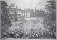 Historic photo from 1854 - Government House - Elmsley House (1815-1860) Simcoe St., s.w. cor. King St. W. in King Street West