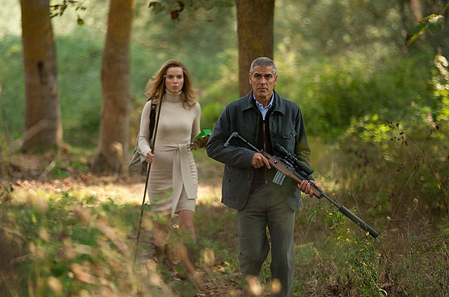 Thekla Reuten and George Clooney stalk through the scenery in 'The American'.