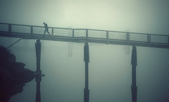 Passerelle (sparth) Tags: morning dog silhouette fog walking island early washington ramp san juan walk foggy minimal wa poles brouillard sanjuanisland passerelle 70200f4l 5dmkii