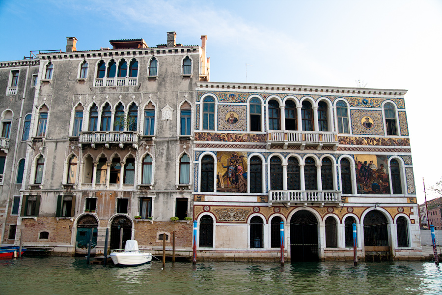 Beautiful houses on the Grand Canal in Venice, Italy