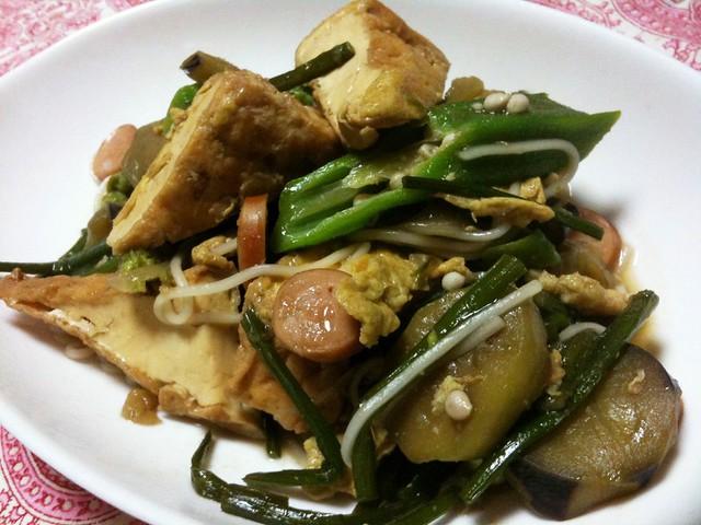 #jisui ありもので素麺チャンプルーが、思いのほかうまかった!