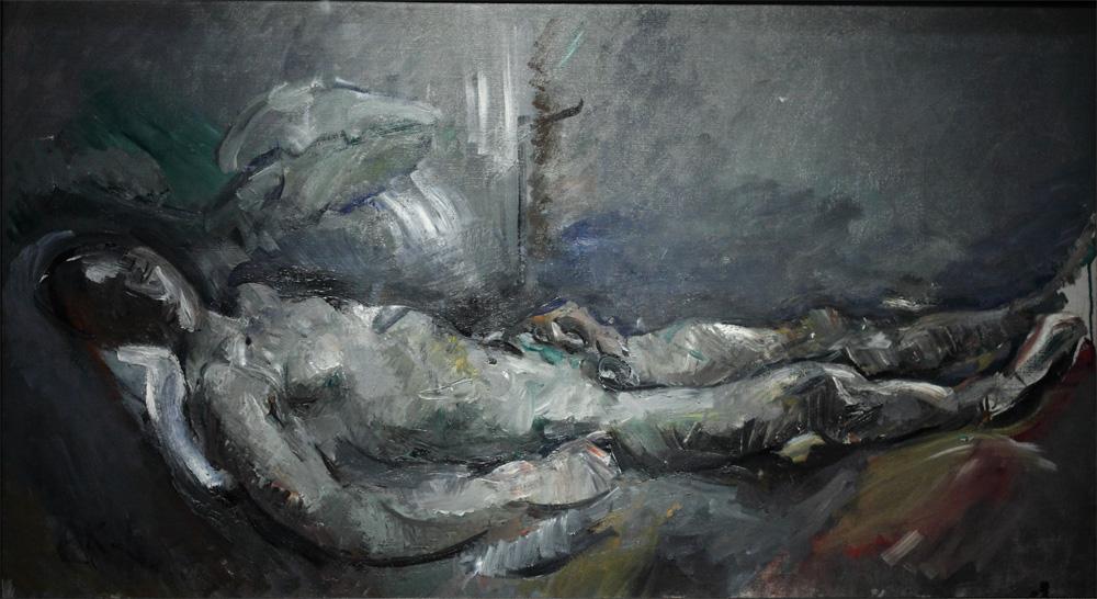 Anton Kolig, Jünglingsakt (Grau) [Male Nude in Grey, Reclining], 1919