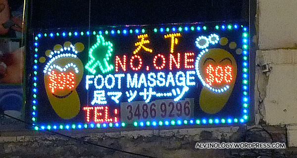 Funny signboard - No One Foot Massage