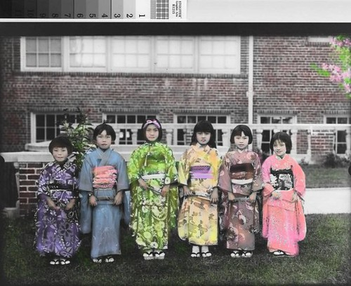 Japanese American Girls In Kimonos California 1925