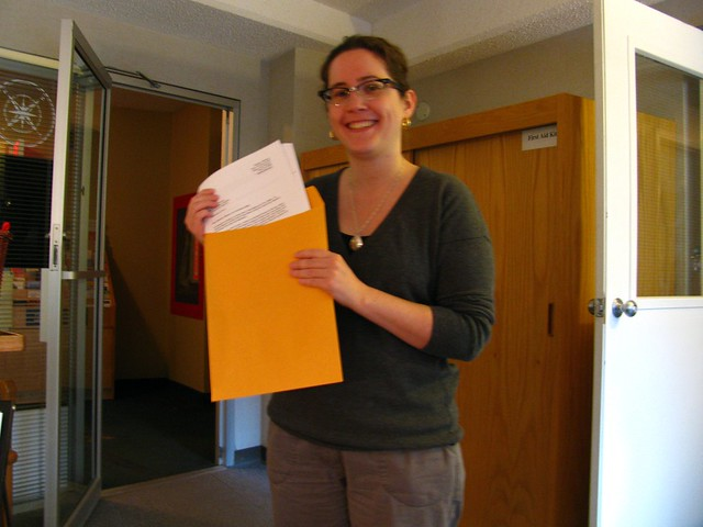 Handing in the 3-Day Novel at Community Services