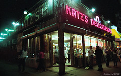 Katz's Delicatessen (Gilmatic) Tags: new york city film 35mm nikon fuji side f100 east pro epson v600 1855mm lower nikkor delicatessen katzs dx f3556g 800z