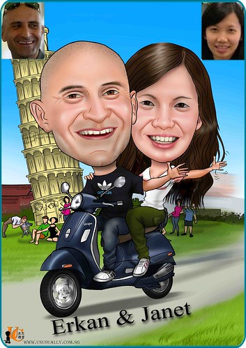 CUSTOMIZED CARICATURE COUPLE DRAWING WITH PERSONALIZED THEME -