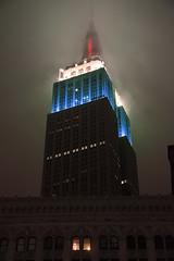 Empire State Building RWB (Shutterbug Fotos) Tags: nyc newyorkcity red ny newyork america cyan metropolis empirestatebuilding cian gothamcity whiteandblue