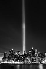 _MG_0394-BW (Shane Woodall) Tags: newyork brooklyn lights memorial worldtradecenter 911 september wtc towersoflight tributeinlight 2010 brooklynbridgepark canon5dmarkii septenber11th