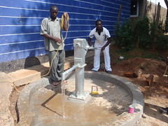 Matende sec.school-water flowing after pump attachment.