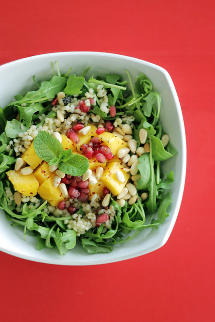 Bulgar Wheat with Mango, Rocket and Pomegranate