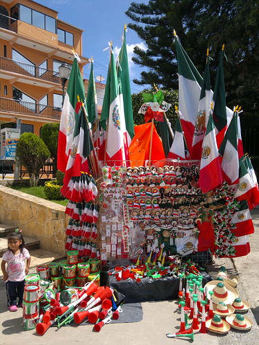 Selling flags for Mexican Independence Day