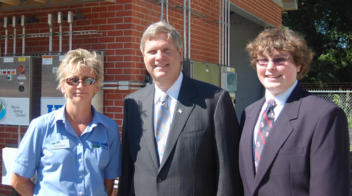 USDA Rural Development Public Information Officer Kathy Beisner and student reporter Jamie Welch with Secretary Vilsack Monday at the new Berlin, Maryland Water Treatment Plant, funded through the Recovery Act.