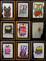 """who's"" awesome? (artsy_T) Tags: art book pages drawings owl marker recycle owls repurposed elementaryart"