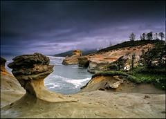 Rainy coast (Vinnyimages) Tags: oregon pacificocean pacificnorthwest oregoncoast 6x7 45mm pacificcity capekiwanda pentax67 colorefexpro lee3stopgrad vinnyimages wwwvinnyimagescom vinnyimagescom