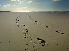 Spiekeroog XXVIII / Begegnung (daniel.stark) Tags: strand sand meer wasser spuren footprints wolken meeting insel northsea nordsee treffen küste spiekeroog begegnung fusspuren danielstark
