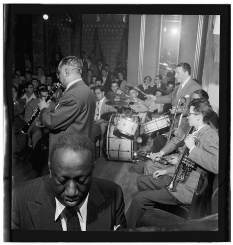 [Portrait of James P. (James Price) Johnson, Albert Nicholas, Johnny Windhurst, Marty Marsala, Sandy Williams, and Danny Alvin, Webster Hall, New York, N.Y., ca. June 1947] (LOC)