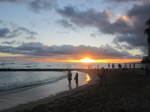 Sunset from Waikiki beach