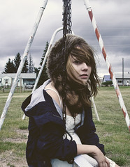 (yyellowbird) Tags: girl hat playground montana swing raccoon cari